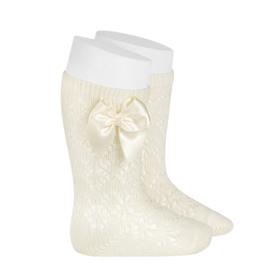 Socks Open w/Bow - Beige