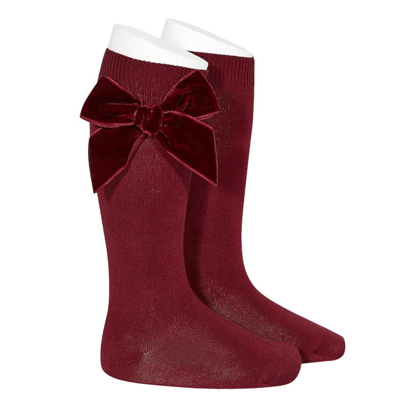 Velvet Socks Knee High - Burgundy
