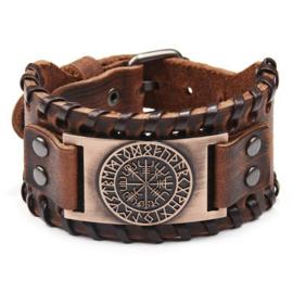 Armband Vegvisir - futhark rood koper