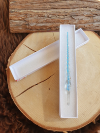 Glazen pen Glitter - Licht blauw