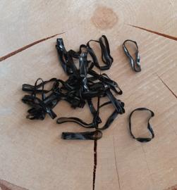 Siliconen elastiekjes voor baardkralen - Zwart - zakje van 100 st.