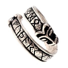 "Ring ""Runen met wolfskoppen"" verzilverd - maat S"
