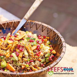 Quinoa tabouleh met shoarma