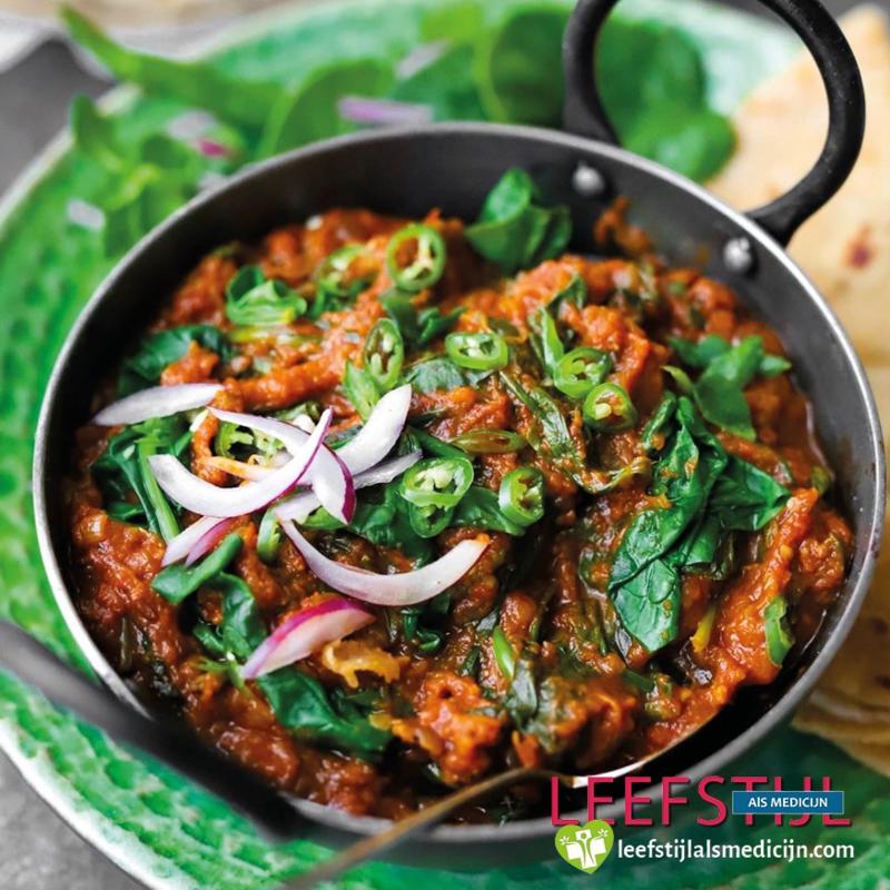 Annemarie's aubergine-spinazie curry