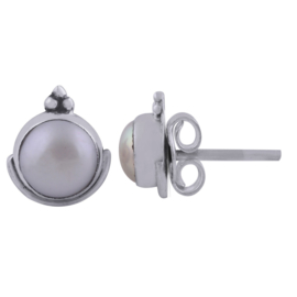 oorknopjes sterling zilver zoetwaterparel India