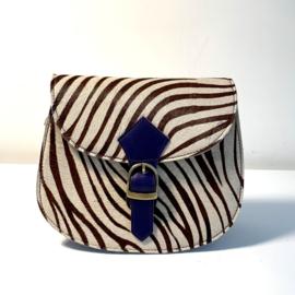 Tas Coco- animalprint/donkerblauwe gesp
