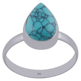 Sterling zilver Ring Turquoise teardrop