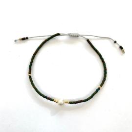 Miyuki armbandje dark green pearl