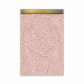 Cadeauzakje roze/goud leaves 17x25 cm