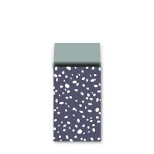 Donkerblauw met witte vlokken 7x13cm