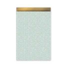 Cadeauzakje mint/goud 17x25 cm