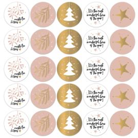 Stickers kerst roze/goud