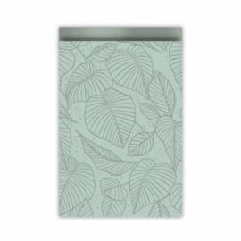 Cadeauzakje mint/zilver leaves 17x25 cm