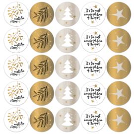 Stickers kerst goud/zwart