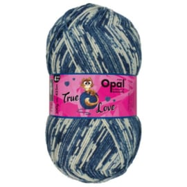 Opal True Love 4-draads 100g  9865 Blauw, Ecru, Beige