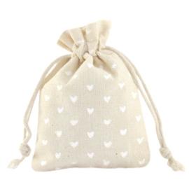 Sieraad zakje linnen hearts Off white 1 stuk