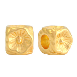 Kralen DQ metaal bloem cube 5mm Goud (nikkelvrij) 1 stuk