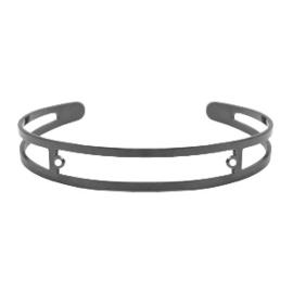 DQ metaal basis armband 9x60mm met twee oogjes Zilver antraciet (nikkelvrij)