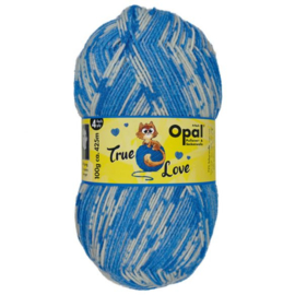 Opal True Love 4-draads 100g  9862  Blauw, Ecru, Beige