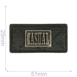 Label casual 51x25mm zwart
