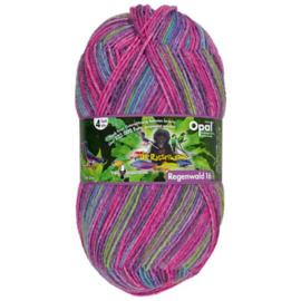 Opal Regenwald 16 4-draads 100g  9905 Groen, Roze, Grijs