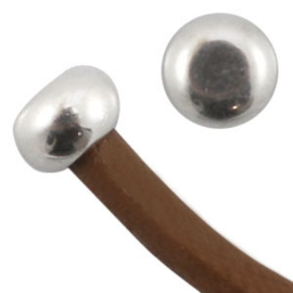 DQ metaal eindkapje dop vorm voor 2mm draad Antiek zilver 10 stuks