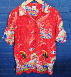 Hawaii Shirt red with fish print Size: L
