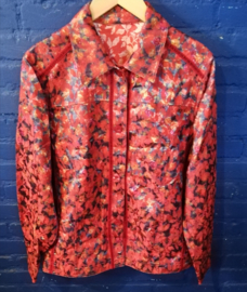 Red flowered coat Size: L