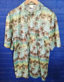 Hawaii Shirt green with palm trees Size: XL