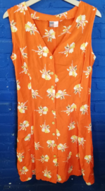 Orange summer dress  with yellow flowers  Size: L