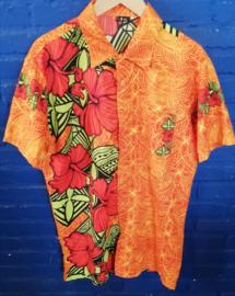 Hawaii Shirt orange with red flowers Size: XXL