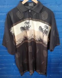Hawaii Shirt Brown half buttoned Size: XL