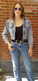 Vintage denim jacket with pearls Size: L