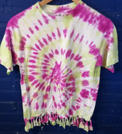 Fringed tie-dye shirt, size: S