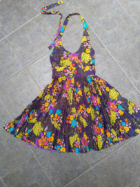 Purple dress with orange flowers Size: S/M
