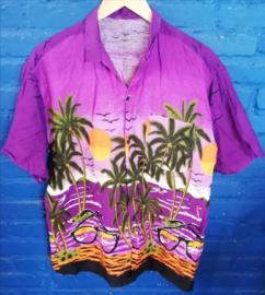 Hawaii Shirt puple with beach and sea Size: M