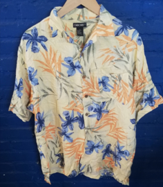 Hawaii Shirt yellow with blue flowers Size: M