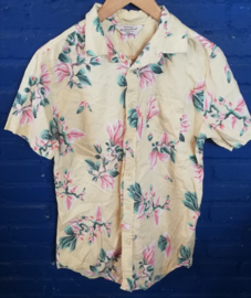 Hawaii Shirt light yellow with pink flowers Size: S