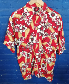 Hawaii Shirt red  with masks Size: XXL