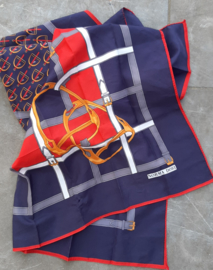"scarf blue/red ""horses"""