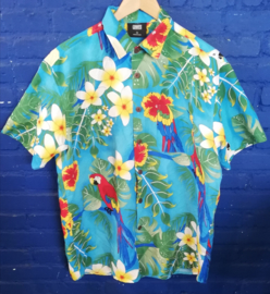 Hawaii Shirt Blue with parrots Size: L