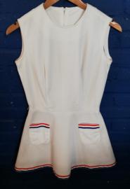 White mini dress, r/w/bl ribbon Size: XS
