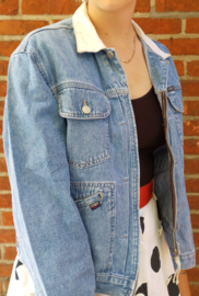 Denim jacket, white collar Size: L