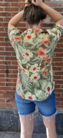 Hawaii shirt with flowers yellow/orange/green Size: XL