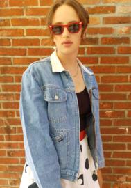 Denim jacket, white collar Size: L