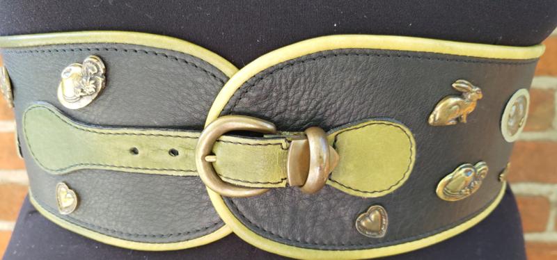 Leather belt wit Austrian deco