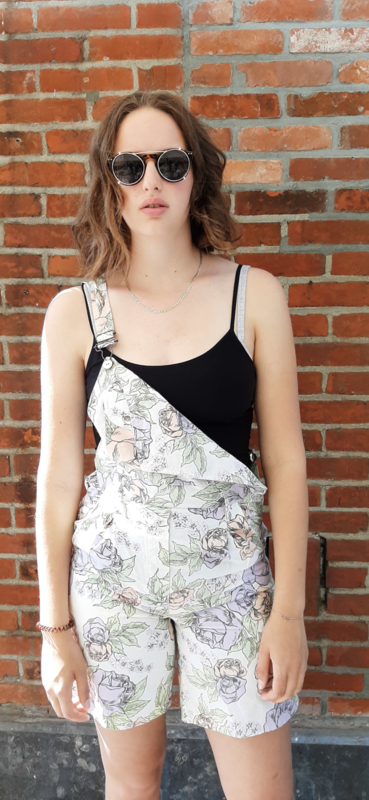 Dungarees with White/lilac/salmon flowers Size: M/L