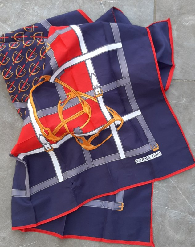 """scarf blue/red """"horses"""""""
