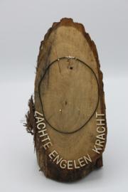 Lederen halsketting met karabijnslotje zwart 45 cm