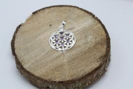 Bloem des Levens hanger 925 zilver met Amethist 3 cm